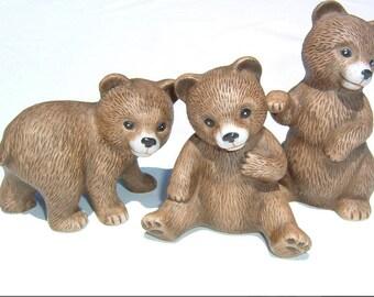 80s SWEETEST  3 BEARS Porcelain Figurines