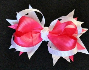 Pink and White Stacked Boutique Hair Bow