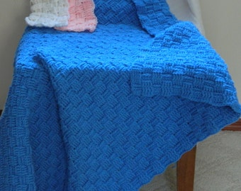 Made to Order 4' by 6' Crochet Blanket - Basket Weave Afghan, Custom Blanket, Crochet Blanket, Beach Blanket, Home Décor, Crochet Afghan