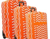 3 Piece Chevron Rolling Luggage Set - CuteLuggageandThings
