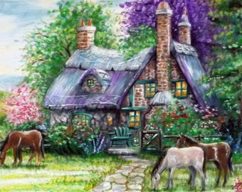 Note Cards, Cottage & Horses Artwork, Set of 5, All Occasion