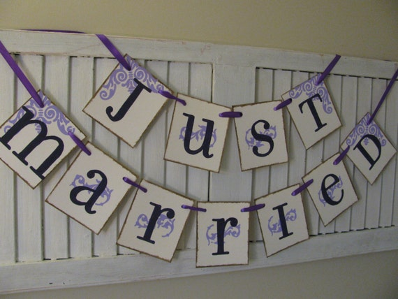 Wedding Banner Just Married Garland Bunting Swag By