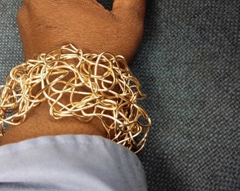 crochet copper wire bracelet