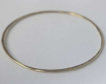 Brass Bangle 1 pc Handmade hammered wire yellow brass stacking Bangle, faux gold bracelet, Statement jewelry, Valentines gift <3