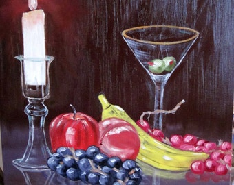Candle And Martini Oil Painting (Hope Through Cancer)
