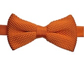 Orange Knitted Bow Tie. Orange Bow Tie. Knit Bow Tie. Mens Bow Tie. Wedding Bow Tie. Orange Wedding. Men Orange Bow Tie. Orange Silk Bow Tie