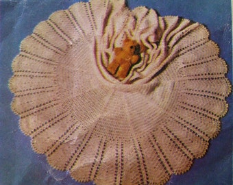 Vintage Crochet Pattern - Circular Mother and Baby Shawl/Cape or Blanket.