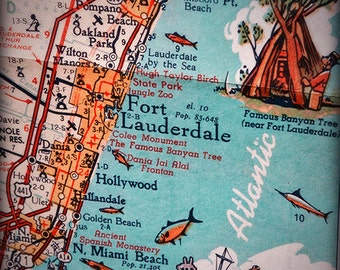 Fort Lauderdale Hollywood beach retro beach map print funky vintage turquoise photo of Florida East Coast