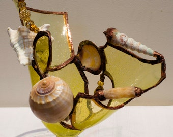 Stained Glass and Shell Candleholder - Sunshine Seashore