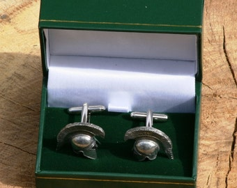 Greek Helmet Cufflinks Pewter UK Handmade Gift