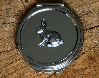 Rabbit Compact Handbag Mirror Ladies Engraved Gift