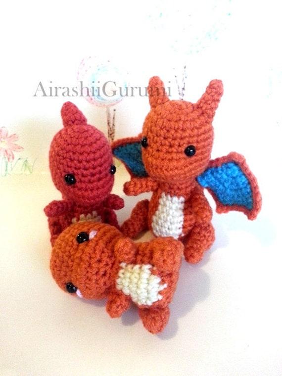 Amigurumi Pokemon Schemi : ahnliche Artikel wie Feuer-Evolution: Glumanda, Charmeleon ...