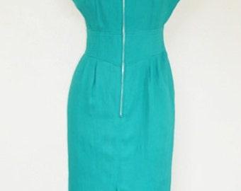 Vintage 1980 s Green Pencil Skirt Dress.