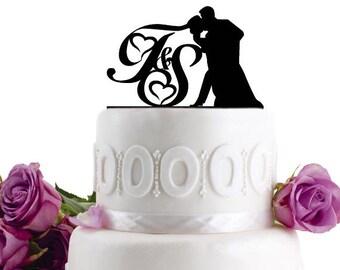 ON SALE !!! Wedding Cake Topper - Wedding Decoration - Cake Decor - Monogram Cake Topper - For Love - Anniversary Cake Topper