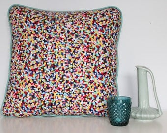 Sprinkle cushion cover with mint piping and blue back - 45cm x 45cm