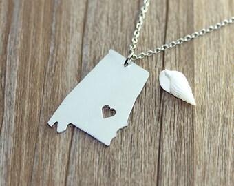 I heart Alabama Necklace - Alabama Pendant - State Necklace - State Charm - Map necklace - Map Jewelry