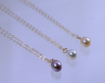 Set of 4 Bridesmaid pearl necklace. Bridesmaid set of 4 gift, Gold necklace or Sterling silver necklace