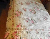 Vintage Quilt, Twin Bed Topper, Runner Pink, Cream Cotton, Shabby Chic, UK Seller