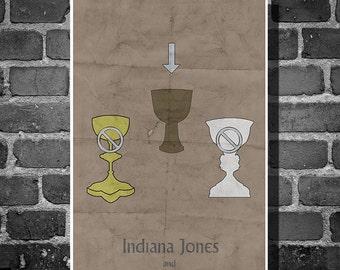 Indiana Jones poster movie art minimalist poster geekery art print sci fi print cult classic last crusade