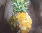 Original Pineapple Painting, Brown Background, Still Life, Popular, Modern