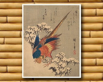 Japanese Art Decor Asian Pheasant Wall Art Poster Decor Japan Retro (J131)