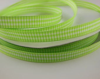 Apple Green Gingham Ribbon 3/8'' 33COLORS