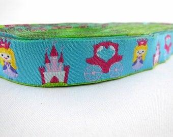 Princess Castle Woven Jacquard Ribbon 5/8''