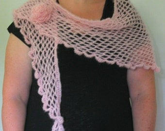 Crocheted Cloud Wrap with Individual Flower fastener