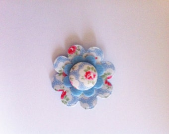 Felt & fabric flower brooch