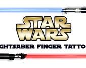 Star Wars Lightsaber Finger Tattoos