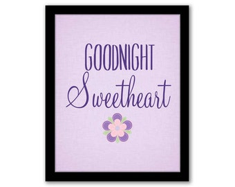 INSTANT DOWNLOAD, Goodnight Sweetheart, Purple Nursery Art, Nursery Wall Art. Playroom Decor, Children's Art, Girls Room Decor, Baby Gift