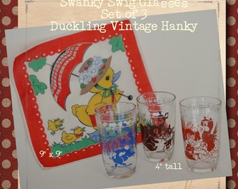 Set of 3 Swanky Swigs with Child/Baby Characters Duckling Vintage Hanky #0019