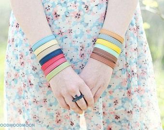 """Colorful bracelet """"Zebra in Love"""", eco leather"""