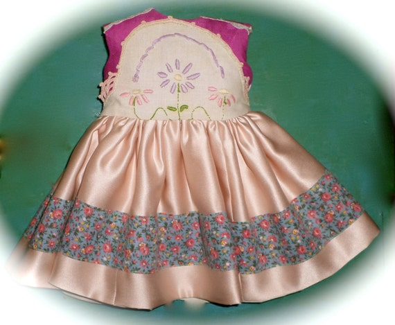 """Pink Satin Birthday, Dress with Vintage Embroidered Bodice  for American Girl Doll, Winnie's Wardrobe, Calico, Fully Lined, 18"""" Doll Dress"""