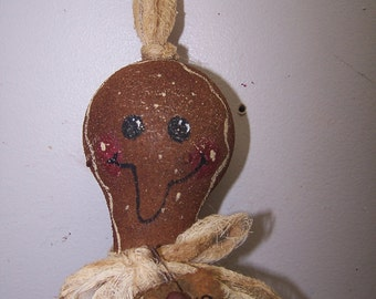 Hand painted recycle light bulb primitive gingerbread man ornament