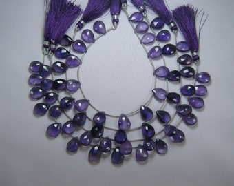 African Amethyst Faceted Pear Drop Briolette Bead Strand