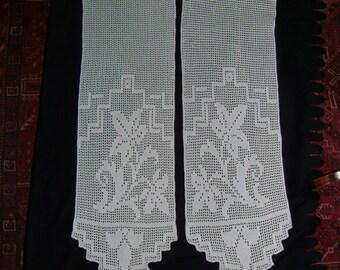 crocheted curtains pair