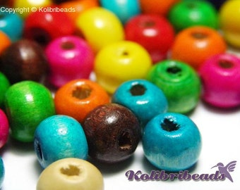 100x Abacus Round Wooden Beads 10 mm x 8 mm - Mixed Colours