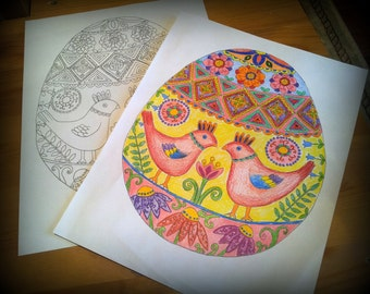 Easter Egg Coloring Page Digital Download Print Yourself