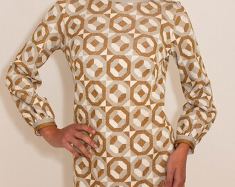 SOLD-60's Vintage Geometric Gold and Silver Mod Disco Dress