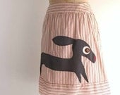 dachshund skirt - striped cotton skirt with applique doxie dog / upcycled clothing women's medium / large