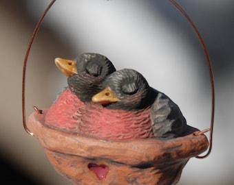 Sleeping Robins Ornament