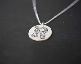 Single Initial Charm Pendant Sterling Silver Initial Necklace Hand Stamped Necklace Letter Initial Necklace