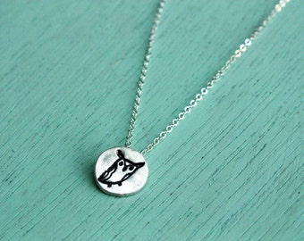 Tiny Owl Necklace, eco-friendly sterling silver tiny animal jewelry great horned owl miniature necklace owl