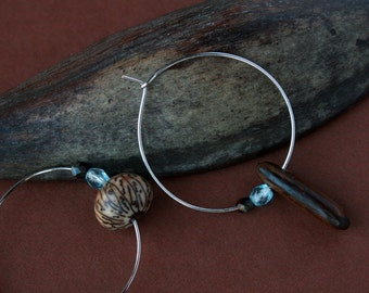 mismatch hoop earrings with natural seeds - ethnic jewelry - wood earrings - brown - eco friendly