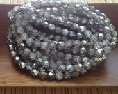 Czech glass beads round faceted silver coated clear 6mm 20 pack