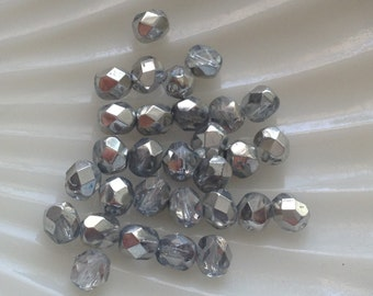 Silver Faceted Round Glass Beads - Czech glass beads -  silver coated clear 6mm 20 pack (F613)