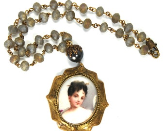 "MEMENTO Upcycled Portrait Miniature Necklace ""Altered Heirlooms"" by Nouveau Motley Antique Hand Painted Pendant Rosary Beaded Chain"