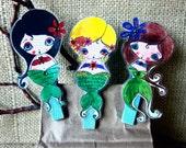 Mermaid Clips - Set of Three