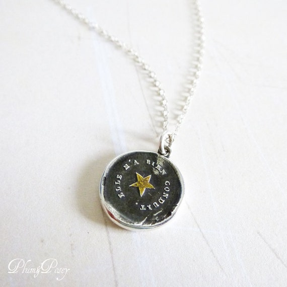 Star Necklace - Silver and Gold Wax Seal Necklace - Follow your Star Jewelry from Plum and Posey - 258